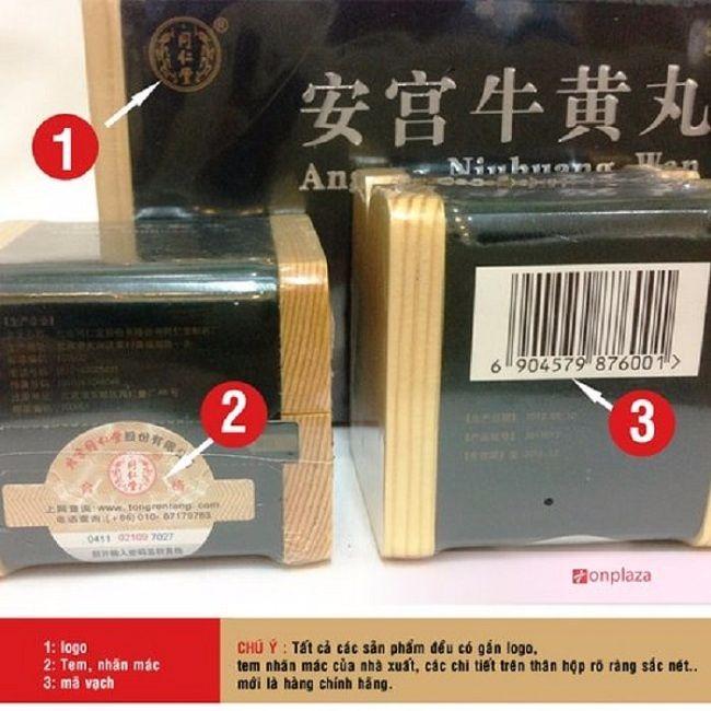 Logo, tem và mã vạch được in và dán trên hộp an cung xanh