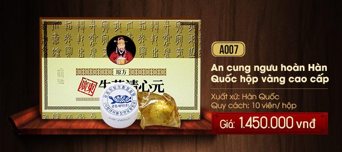Giá an cung ngưu hoàng hoàn hộp vàng Hàn Quốc