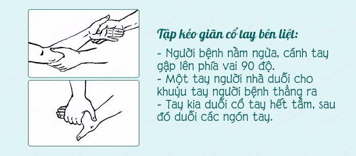 Tập kéo dãn cổ tay khủy tay của bên tay bị liệt