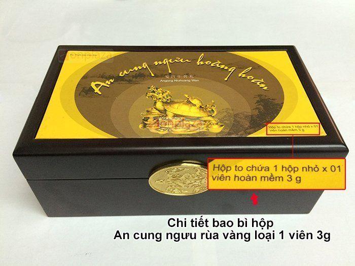 Chi tiết mặt chính hộp an cung ngưu hoàng hoàn Rùa Vàng 1 viên chính hãng