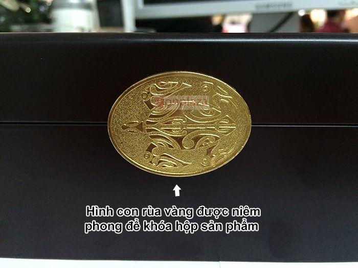 Khóa hộp an cung ngưu rùa vàng thật có hình kim quy mạ vàng