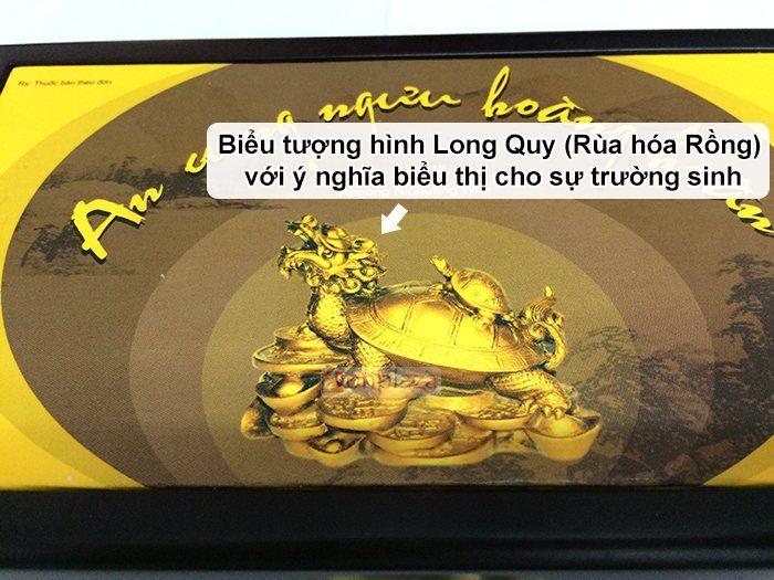 Biểu tượng trên mặt hộp an cung ngưu hiệu rùa vàng long quy hộp gỗ 1 viên