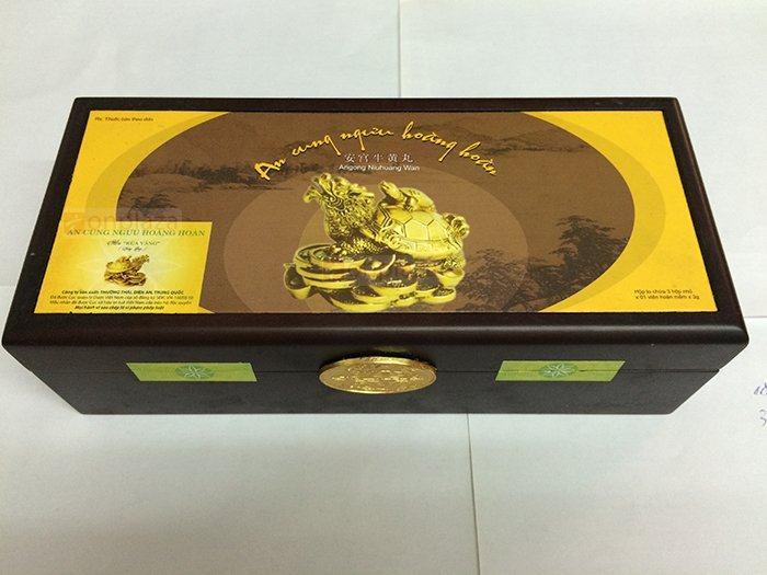 Mặt chính hộp an cung ngưu thương hiệu Rùa vàng loại 3 viên